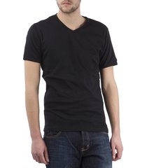 petrol basic t-shirt korte mouw v-hals zwart