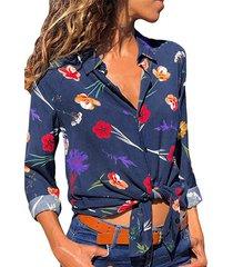 blusa de manga larga con cuello de solapa y estampado floral al azar