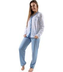 pijama 4 estaã§ãµes com botã£o amamentaã§ã£o manga longa feminino azul - azul - feminino - poliã©ster - dafiti