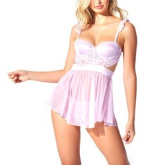 icollection floral applique lace and mesh 2pc lingerie set
