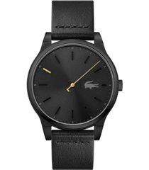 lacoste men's black leather strap watch 43mm