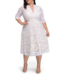 plus size women's kiyonna bella lace fit & flare dress, size 1x - white