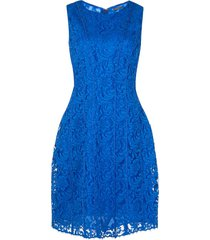 adam lippes seamed flare lace dress - blue