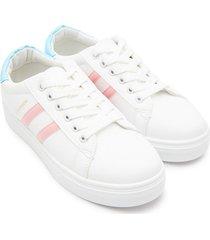 tenis fashion franjas rosa color blanco, talla 38