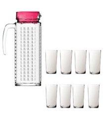 kit 1 jarra vidro ladrilhos rosa 1,2l e 8 copos de vidro long sture móveis