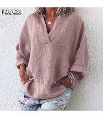 zanzea camisa de manga larga con cuello en v cruzada para mujer blusa de gran tamaño batwing tee -rosado