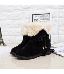 ey mujer invierno caliente botas de nieve de moda borla algodón plataforma plana-negro