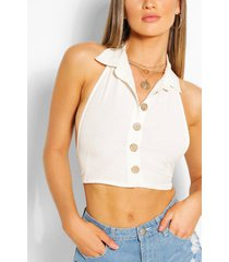 linnen crop top met halter neck, ivoor