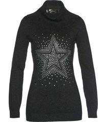 pullover a collo alto con stella di strass (grigio) - bpc selection