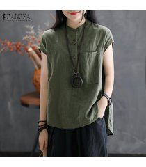 zanzea blusa con botones básicos para mujer blusa túnica suelta talla grande -verde