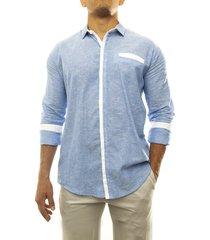 camisa azul frank  lino mar azul