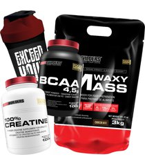 kit waxy mass 3kg chocolate + bcaa 4,5g 100g + 100% creatine 100g + coqueteleira – bodybuilders