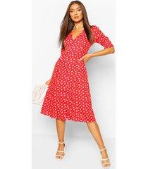 bloemenprint midi jurk met knopen, red