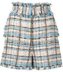 msgm tweed fringe check shorts - blue