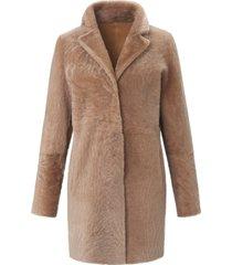 tweezijdig te dragen lange jas lamsvacht van fadenmeister berlin beige