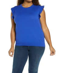plus size women's halogen flutter sleeve sweater, size 2x - blue