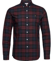brewer check long sleeve slim fit shirt overhemd casual rood farah