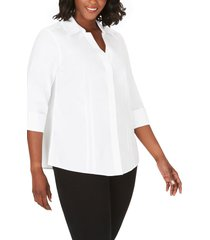 plus size women's foxcroft 'taylor' three-quarter sleeve pinpoint cotton shirt, size 20w - white