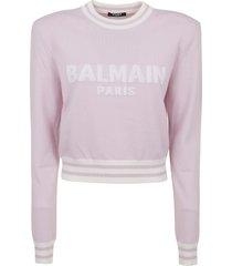 balmain cropped mesh logo sweater