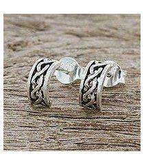 sterling silver half-hoop earrings, 'artisan braid' (thailand)