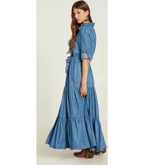 motivi vestito lungo chemisier in tencel donna blu