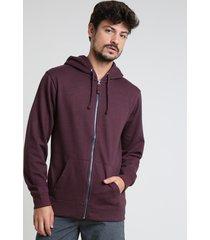blusão masculino básico em moletom com capuz vinho
