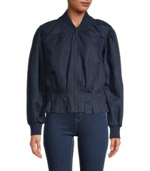 frame women's shawl collar pintuck jacket - navy - size xs
