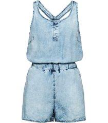 tuta in jeans con bottoni (blu) - rainbow