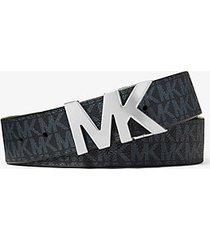 mk cintura reversibile con fibbia con logo - blu ammiraglio/blu pallido (blu) - michael kors