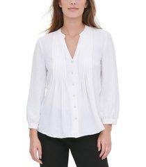 calvin klein pleated-placket blouse