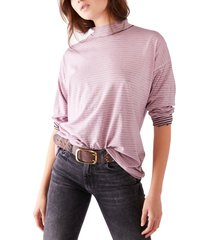 women's free people be free mock neck stripe tunic, size x-small - pink
