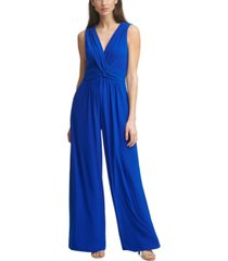 vince camuto shirred wrap-front jumpsuit