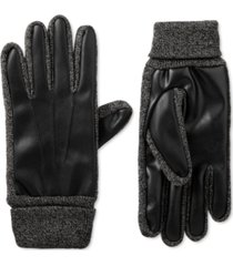 isotoner signature men's faux-leather stretch smartouch gloves