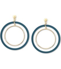 zenzii gold-tone suede-painted double-hoop drop earrings