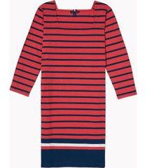 tommy hilfiger women's adaptive icon stripe dress bleached red multi - xs