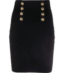 zwarte gebreide rok met hoge taille en dubbele knopen