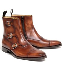 handmade men brown triple monk boots, men cap tow side zipper boot men boot