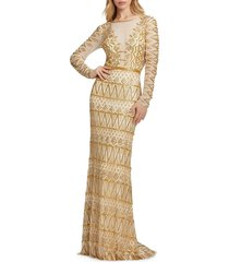 mac duggal women's embroidered open-back gown - gold - size 16
