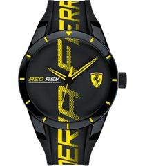 ferrari men's redrev black silicone strap watch 44mm