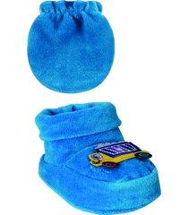 conjunto luva e sapatinho ursinho plush - azul - menino - dafiti