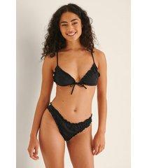 na-kd swimwear bikinibyxa med hög skärning och rynk - black