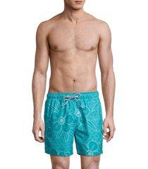 ted baker men's linear floral swim trunks - teal - size 4 (l)