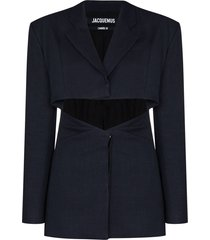 jacquemus single-breasted cut-out blazer - blue
