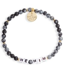women's little words project he/him beaded stretch bracelet