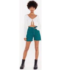 womens high-waist and longline denim vintage shorts - forest