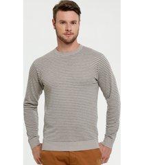suéter masculino listrado manga longa mr