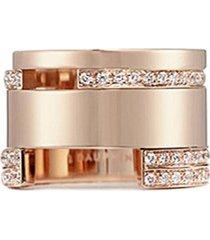 diamond 18k rose gold wide cutout ring