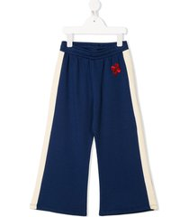 mini rodini side-stripe organic-cotton track pants - blue