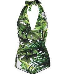 dolce & gabbana jungle print one-piece swimsuit - green