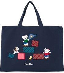 familiar lia and fami embroidered denim tote bag - blue
